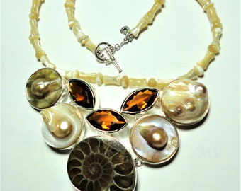Pearl Necklace Pearl and Biwa Blister Pearls Citrine and Ammonite with Sterling Pearl Statement Necklace Bib Collar
