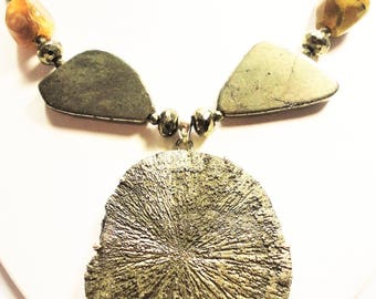Rare Pyrite Sun Natural Gemstone Medallion Necklace Golden Pyrite Geometric Beads w African Yellow Opal Iron Pyrite Sun with Solid Sterling