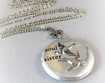 Soul Sisters,Sparrow,Sister Jewelry,Sister Necklace,,Sparrow Locket,Bird Necklace,Bird Necklace,Heart Necklace,Sparrow,soul,valleygirldesign