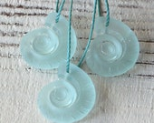 4 Ammonite Sea Glass Beads - Recycled Glass Pendant Beads - Jewelry Making Supply - Beach Glass Frosted Glass Beads - 18x15mm