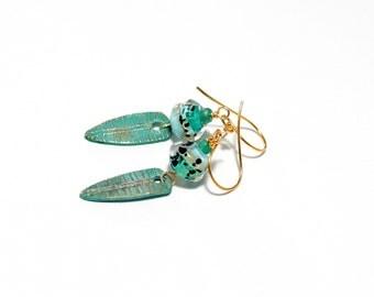 Turquoise Glass Bead Earrings. Artisan Patina Charms. Boho Rustic Earrings. Small Dangle Earrings. Gifts For Her.  Lampwork Jewelry.