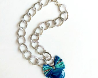 Blue Agate Necklace, Chunky Statement Agate Slice Pendant Necklace