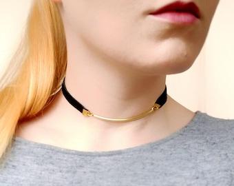 Simple Leather Choker, Black Gold Choker Necklace, Bar Choker Collar Necklace for Women, Boho Choker