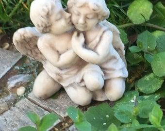 Miniature Garden Statue, Kissing Cherubs, Dollhouse Miniature, 1:12 Scale, Dollhouse Garden, Miniature Gardening, Fairy Gardens