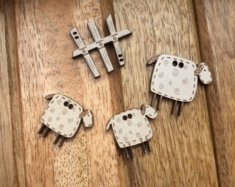Wood Sheep & Fence Buttons by The Bee Company, 2 Hole Sew On Buttons, Packaged Set 4 Buttons, Embellishments, Crafts, Sewing, Quilting