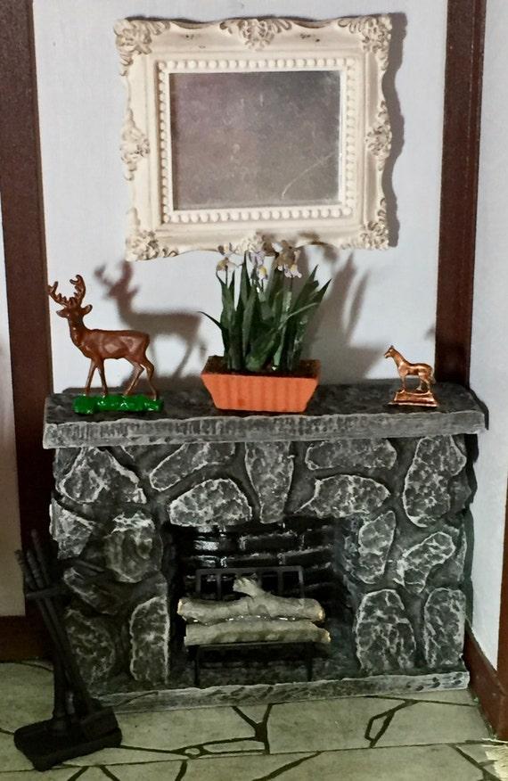 Miniature Stone Fireplace, Grey Stone Mini Fireplace, Dollhouse Miniature, 1:12 Scale, Stone Look Fireplace With Mantle