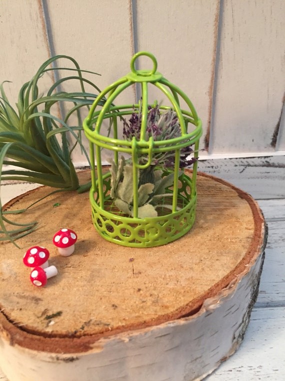 Mini Green Metal Bird Cage, Hinged Top, Fairy Garden Accessory, Miniature Home and Garden Decor, Crafting, Topper, Shelf Sitter