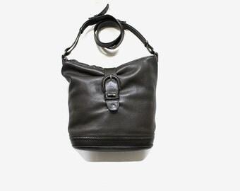 Vintage Leather Bucket Bag / Leather Hobo Bag / Cross Body Purse