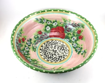Large Ceramic Bowl -  Pink Porcelain Dish with Hand Painted Floral and Rose Design - Polka Dots and Abstract Design