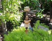 Ceramic Garden Totem with 2 Handcrafted Birds + 9 Beads -  Bird on Nest with Real Branch - Textures on Handcrafted Beads - Yard Decoration