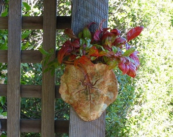 Ceramic Leaf Wall Planter - Succulent or Plant Holder Made with a Real Hollyhock Leaf - Hanging Clay Wall Pocket - Unique Gardener Gift