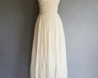 Vintage BOHO MEXICAN Crochet CREAM Sun Dress (s-m)