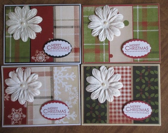 Lot of 4 Handmade Holiday Merry Christmas greeting Cards, Happy Holiday Season's Greetings cards #3