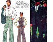 1970s BILL BLASS Mens 3 Piece Suit Vogue Americana 1129 Vintage Sewing Pattern Lined Jacket Blazer Waistcoat Vest pants size Chest 40 inches