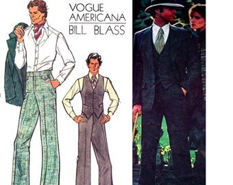 Vogue Americana 1129 BILL BLASS Mens 3 Piece Suit Lined Jacket Blazer Waistcoat Vest& Pants 70s Vintage Sewing Pattern size Chest 40 inches