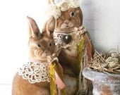 Sophie & Sadie Mae. Easter Spring Decor. Woodland Bunnies. Rustic Farmhouse Accents. Shabby Chic Cottage Bunnies