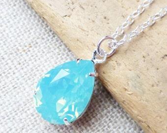 Seafoam Opal Swarovski Crystal Necklace, Aqua Blue Teardrop Sterling Silver Necklace, Bridesmaid Gifts, Bridal Jewelry, Crystal Pear Drop