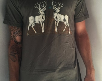 Stag Pyramid Screenprint Men/ Unisex T-Shirt on Army Green