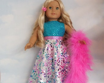 Last One! - 18 inch doll clothes - #228 Rainbow Sequin Gown handmade to fit the American Girl Doll - FREE SHIPPING