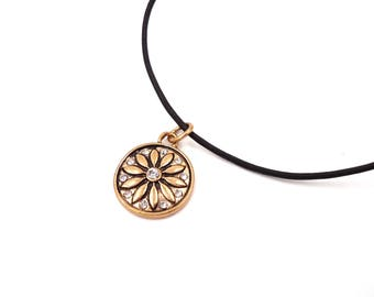 Leather Cord Choker - Boho Jewelry - Cord Necklace - Bohemian Jewelry - Leather Jewelry - Leather Necklace - Gold Flower Charm - Gift Her