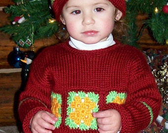 Granny Square Hat Pattern-child crocheted hat pattern-adult crocheted hat pattern-digital crochet