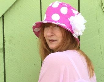 Hot pink polka dot bucket hat, cloche