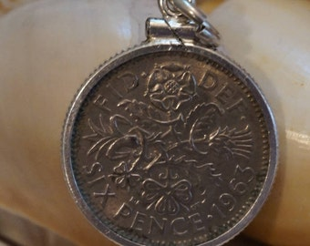 Great Britain Six Pence Coin Charm 1963 / Sterling Silver Bezel