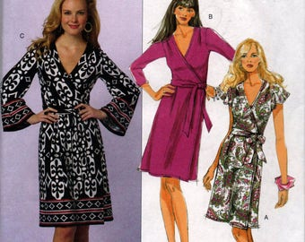 UNCUT Butterick B5454 Plus Easy Diane von Furstenberg DVF Vintage STYLE Wrap Around Dress F5 16 18 20 22 24 Sewing 2010 Pattern Out of Print