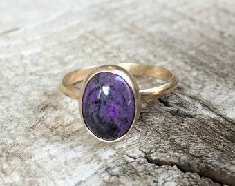 Elegant Minimalist Rare Oval Plum Purple Sugilite Love Gold Ring in 14 Karat Gold
