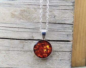 Charm Necklace, glitter, gift for her, etsy jewelry, pendant, women accessories, jewelry, silver necklace, sparkle, Rust Orange