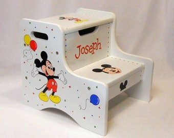 Large Personalized Two Step Stool with Mickey Mouse