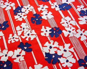 Vintage Mid-Century Cotton Floral Fabric -60s 70s Bold Mod Navy & White Blossoms on Red Stripe BTY