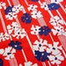 Vintage Mid-Century Floral Cotton Fabric -60s 70s Bold Mod Navy & White Blossoms on Red Stripe BTY