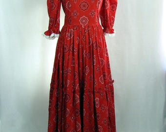 Vintage Red Bandana Country and Western Maxi Dress Rock-a-Billy