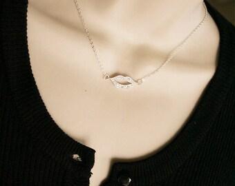 Lips necklace, Silver rhinestone lip necklace, Lips pendant