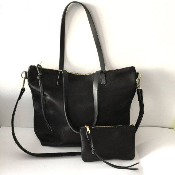 Black Leather Tote Bag with zipper Large zipper tote cross