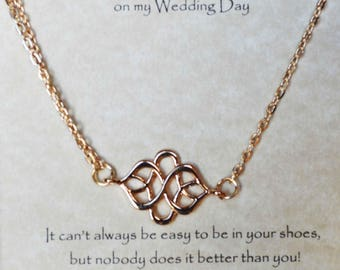 knot necklace, gold knot necklace, offset necklace, sideways knot necklace, offset knot necklace, To My Bonus Mom on my Wedding Day gift