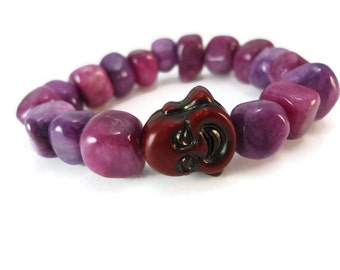 Purple Buddha Bead Bracelet Stone, Stretch Bracelet Purple Stone Jewelry, Chunky Purple Bracelet Buddha Jewelry Gift For Women or Sisters