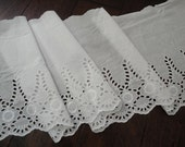 "11"" Wide (28.5 cm) Wide Off White Cotton Eyelet Embroidered Lace Trim for Linens Bedding Pillowcases Bedskirt Lingerie Tablecloth Decor FJT"