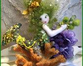 OOAK Sea Green Mermaid Art Doll Soft Sculpture Cloth Art Doll Sea Siren