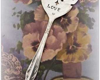 Pansy Garden Marker Hand Stamped Vintage Jelly Spoon with Victorian Saying
