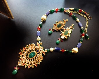 Kundan Necklace earrings Jewelry Set,Gold vermeil Jewelry,Indian gold Kundan Jewellery set,Gift for her,Traditional Ethnic Jewellery set