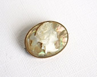 Vintage Cameo Brooch Shell Carved Mother of Pearl MOP Abalone Girl Woman Lady Hair Up Ponytail White Cream Costume Jewelry Estate Jewelry