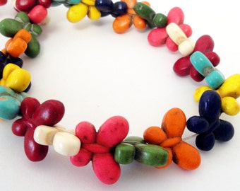 """Butterfly Beads - Gemstone Butterfly Pendant - Multicolored Beads - Howlite Beads - Bohemian Nature Lover - 15"""" strand - DIY Spring Jewelry"""