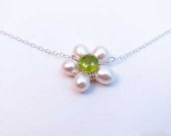 Freshwater Pearl Flower Necklace-Wire Wrapped Peridot Flower Necklace-Gemstone Flower Jewelry-Peridot Necklace-Peridot Gift-Sterling Silver