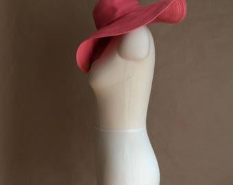 wide brim floppy hat / pink hat /boho beach hat / summer / beachwear / retro accessory