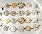 HOLD Ivory Champagne Pearl Rhinestone Silver Bridal Bridesmaid Bracelet Set 6, Vintage Wedding Earring Bracelet Rustic Romantic Gift