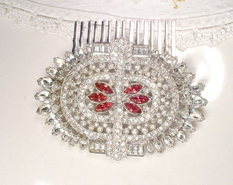 1930s Red Brooch OR Hair Comb, Vintage Art Deco Ruby Rhinestone Silver Bridal Dress Sash Brooch OR Hair Piece Great Gatsby Wedding Headpiece