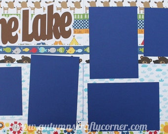 Lake - Basic Premade Scrapbook Double (2) 12x12 Page Layout for Album