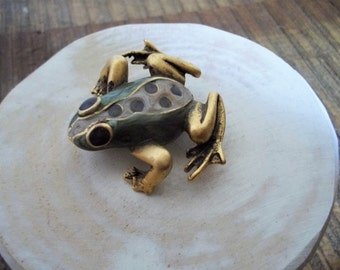 Vintage Gold and Green Enameled Tree Frog Pin